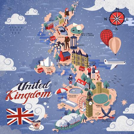 atractiva mapa de Reino Unido con atracciones