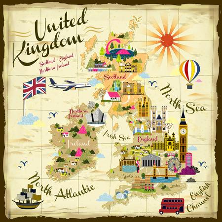 retro reis concept illustratie Verenigd Koninkrijk op de schatkaart