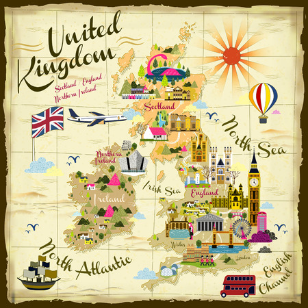 of the united kingdom: retro United Kingdom travel concept illustration on treasure map