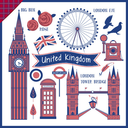 telephone booth: lovely United Kingdom travel impression collection with attractions Illustration