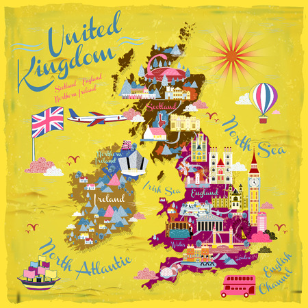 attractive United Kingdom travel map with attractions icon
