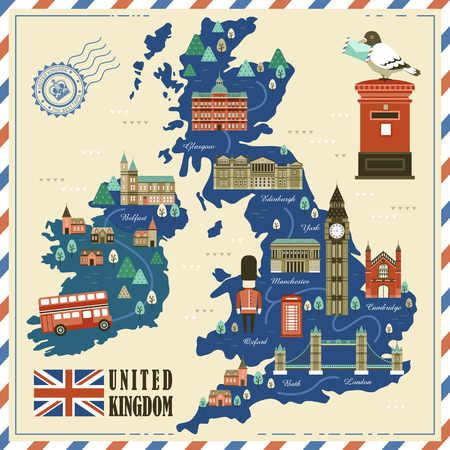 lovely United Kingdom travel map with attractions Illusztráció