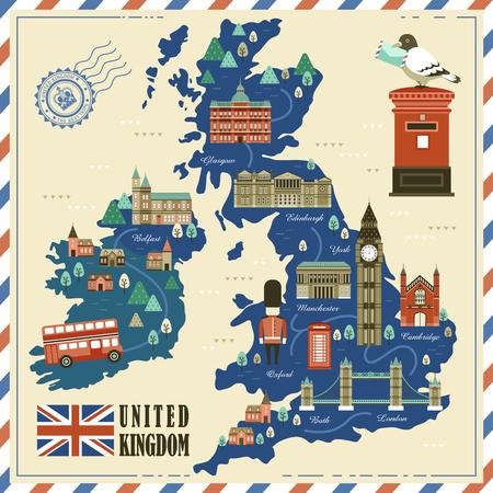 Schöne Reise-Karte Großbritannien mit Attraktionen Standard-Bild - 52655297