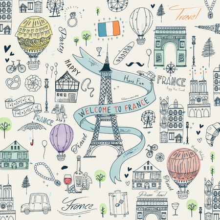attractions: lovely France travel poster with famous attractions and specialties