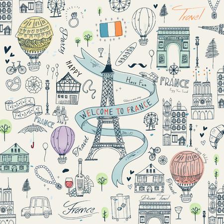 schöne Reiseplakat Frankreich mit berühmten Sehenswürdigkeiten und Spezialitäten