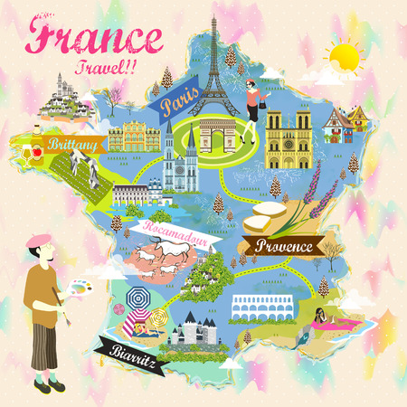 french culture: romantic France travel map with attraction symbols