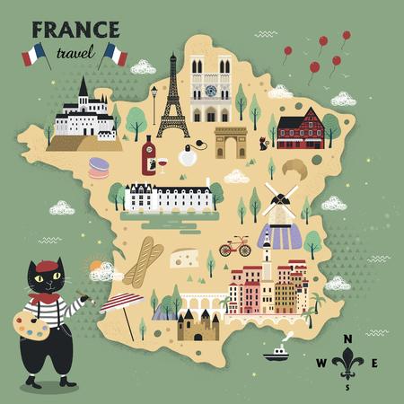 diseño de mapa de Francia adorable con los gatos y los lugares de interés turístico Ilustración de vector