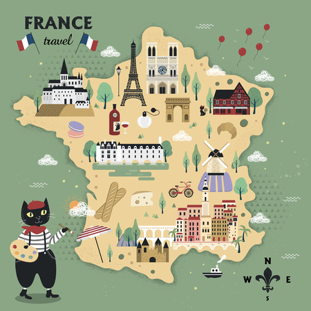 adorable France travel map design with cats and famous attractions Illustration