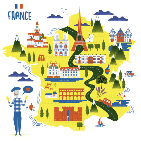 french culture: adorable France travel map with attractions and specialties