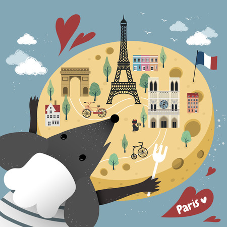 attractions: lovely French cheese map with famous attractions and mice