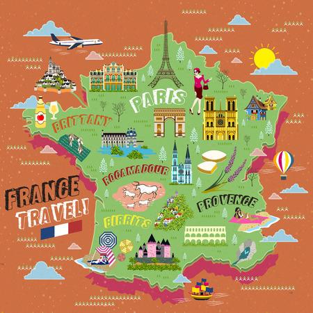 piękny Francja mapa turystyczna z symbolami przyciągania