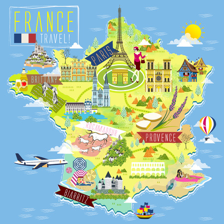 lovely France travel map with attraction symbols Illustration