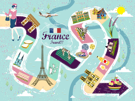 speciality: creative France travel table game poster with attractions