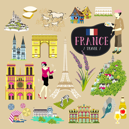 speciality: Romantic France travel impression symbols collection set