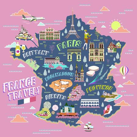 bella Francia mappa con i simboli di attrazione