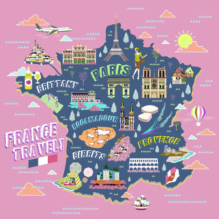 french culture: lovely France travel map with attraction symbols Illustration