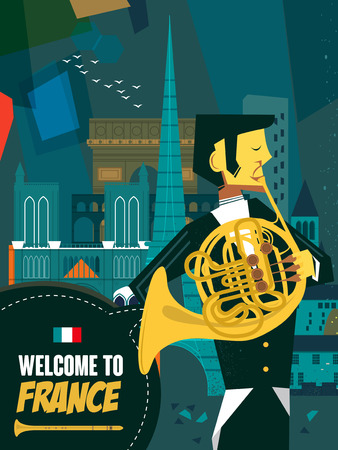 specialty: lovely France music night poster in flat design Illustration
