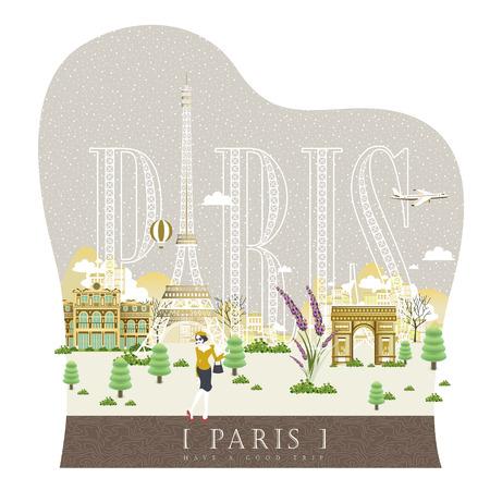 snowy: elegant snowy France travel impression poster with fashion woman Illustration