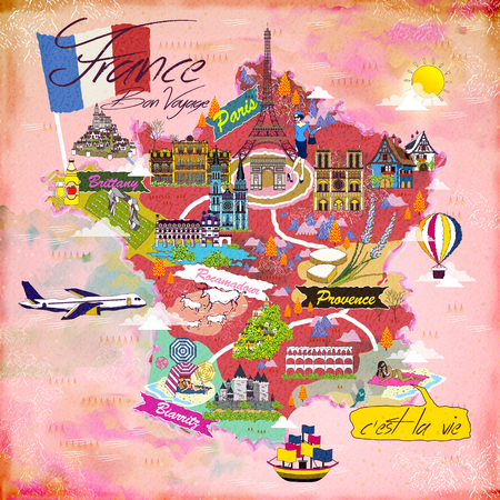 specialty: lovely France travel map with attraction symbols Illustration