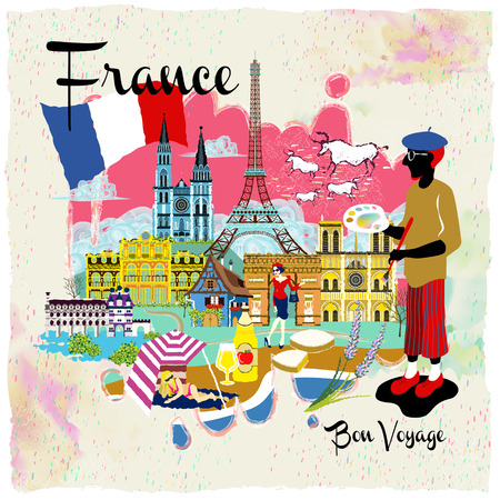 lovely France travel impression poster with attractions Vetores