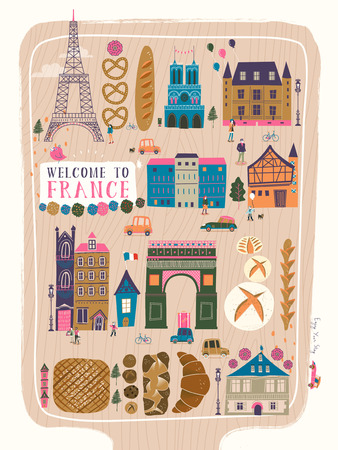 speciality: lovely France travel poster with famous attractions and specialties