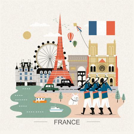 frances: cartel precioso recorrido Francia, con lugares de interés turístico Vectores