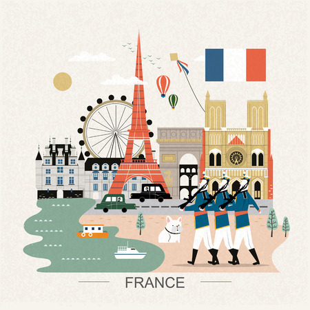 speciality: lovely France travel poster with famous attractions