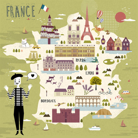 adorable France travel map with attractions and specialties