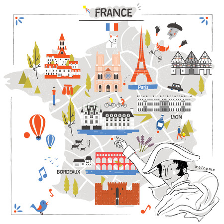 specialty: graceful France travel map with attractions and Napoleon
