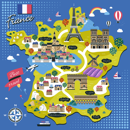 attractions: attractive France travel map with attractions in flat design