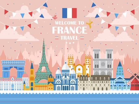 attractions: lovely France holiday celebration poster with attractions Illustration