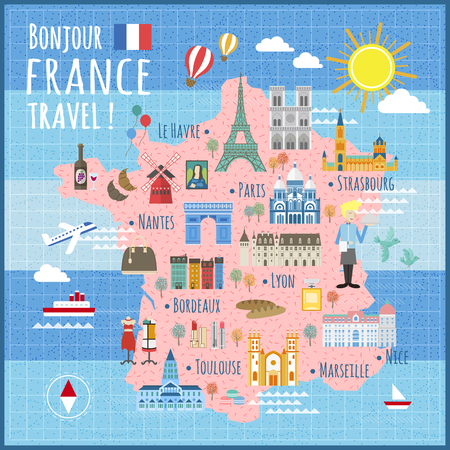 attractions: attractive France travel map with attractions and specialties