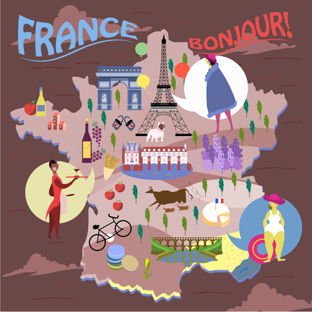 specialty: elegant France travel map with famous attractions