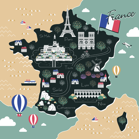 french culture: attractive France travel map with attractions in flat design