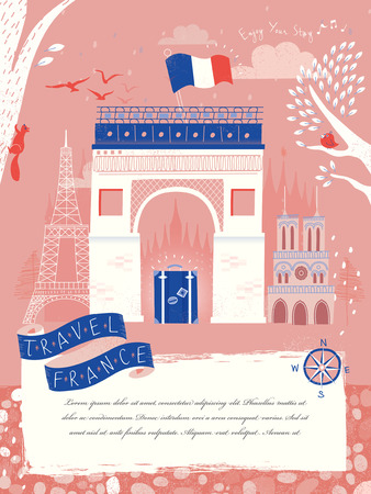 triumphal: lovely France travel poster with Triumphal arch