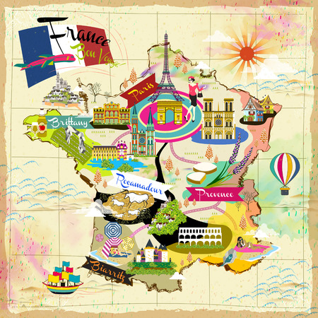 lovely France travel map with attraction symbols Ilustracja