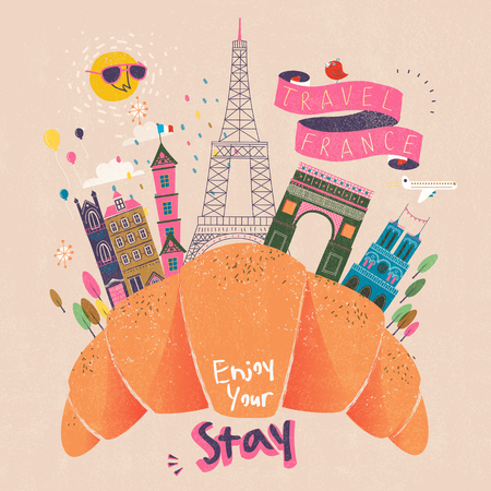 speciality: delicious France travel poster with giant croissant