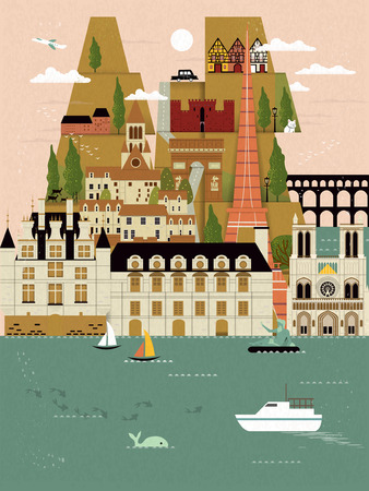 attractions: lovely France travel poster with famous attractions