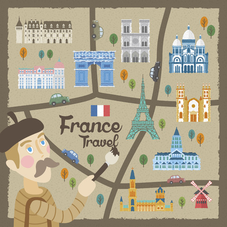 specialty: attractive France walking map drawn by a artist