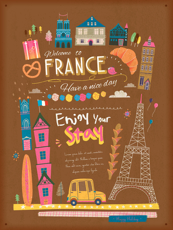 french culture: lovely France travel poster with famous attractions and specialties