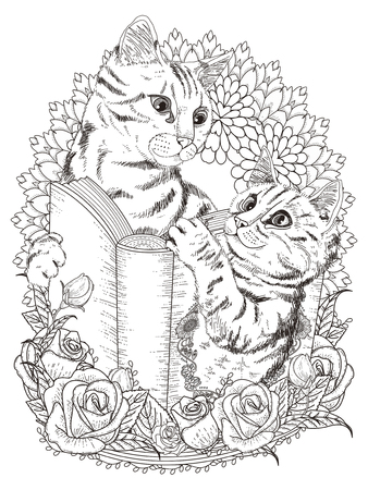 cat: adorable cats with book and floral decorations - adult coloring page