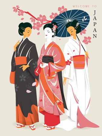 speciality: elegant geishas with beautiful kimono and sakura