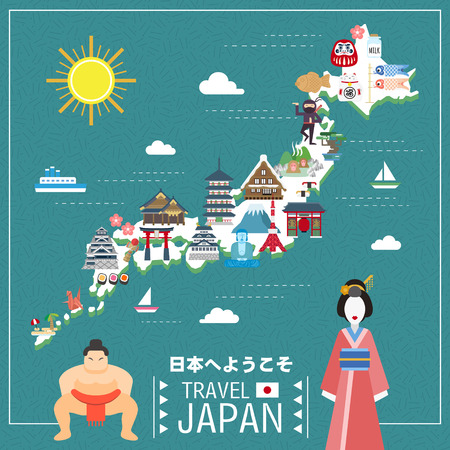 travel japan: lovely Japan travel map - Welcome to Japan in Japanese Illustration