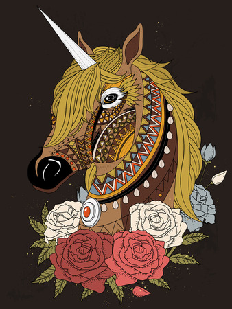 relieve: sacred unicorn with roses - adult coloring page