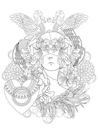 relieve: attractive human with goldfish and swan - adult coloring page
