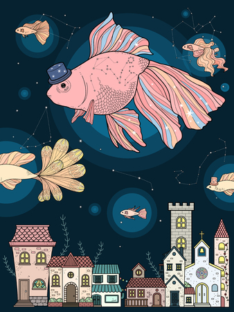 fancy goldfish float upon starry night - adult coloring page