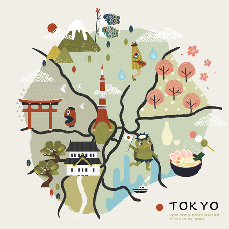 food illustration: lovely Japan walking map with famous attractions and folklore creatures