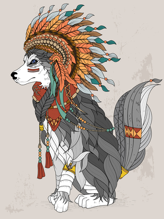 indian feather: lovely Indian style wolf - adult coloring page