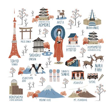 Japan culturele indruk collecties met hun Engels naam