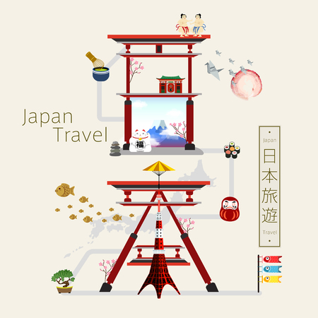 torii: creative Japan travel poster with torii composed Japan in Japanese Illustration